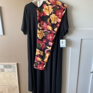 LulaRoe TC2 Floral Leggings & 2XL Black Carly